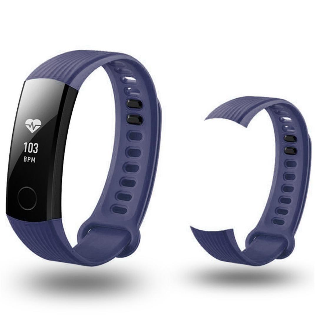 時計ストラップ、ShowkingファッションスポーツシリコンブレスレットStrap Band for Huawei Honor 3スマート腕時計  ネイビー B078TV4VYV