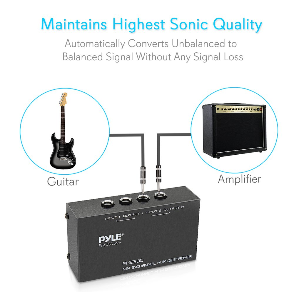 Pyle Hum Noise Filter Eliminator Destroyer Stop Wiring Input Output Jacks General Guitar Gadgets With Trs Inputs And Outputs 2 Channel For Pedals Speakers Ac Adapter No More