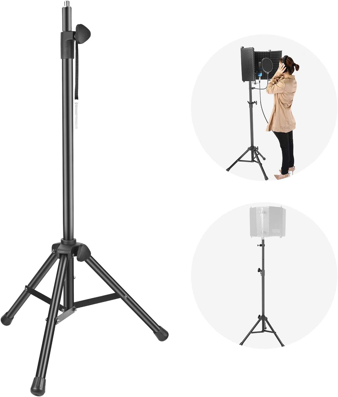 Neewer NW002-1 Wind Screen Bracket Stand with Aluminum Tube, Non-slip Feet, Adjustable Height, 65.2 inches/165.5 centimeters Stand Suitable for Supporting Acoustic Isolation Shield in Studio (Black)