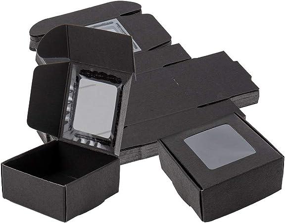 BENECREAT 30 Pack Caja Negra de Cartón Plegable con Ventana Transparente 6.5x6.5x3cm Caja de Joyería de Regalo Envase Superior para Pastel, Chocolate y Galleta: Amazon.es: Hogar