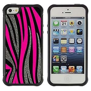 "Hypernova Defender Series TPU protection Cas Case Coque pour Apple iPhone SE / iPhone 5 / iPhone 5S [Patrón Plata Líneas rosadas del animal de piel""]"