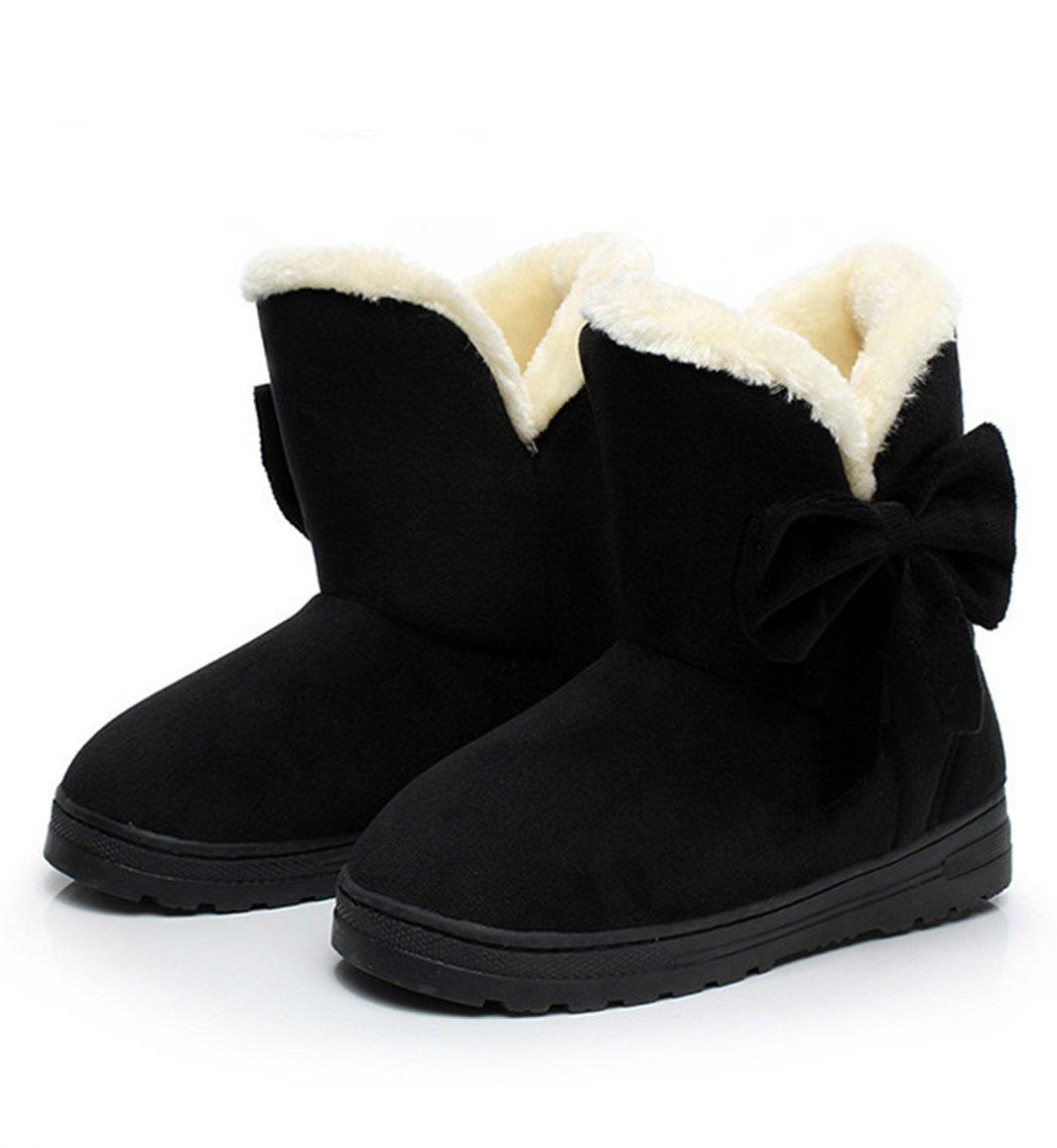 DUSISHIDAN Ladies' Boots Solid Bowtie Slip-On Soft Cute with Round Toe