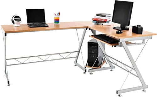 Tenive L Shaped Ergonomic Corner Office Desk Workstation – Computer Desk Home Furniture,67 Natural Color