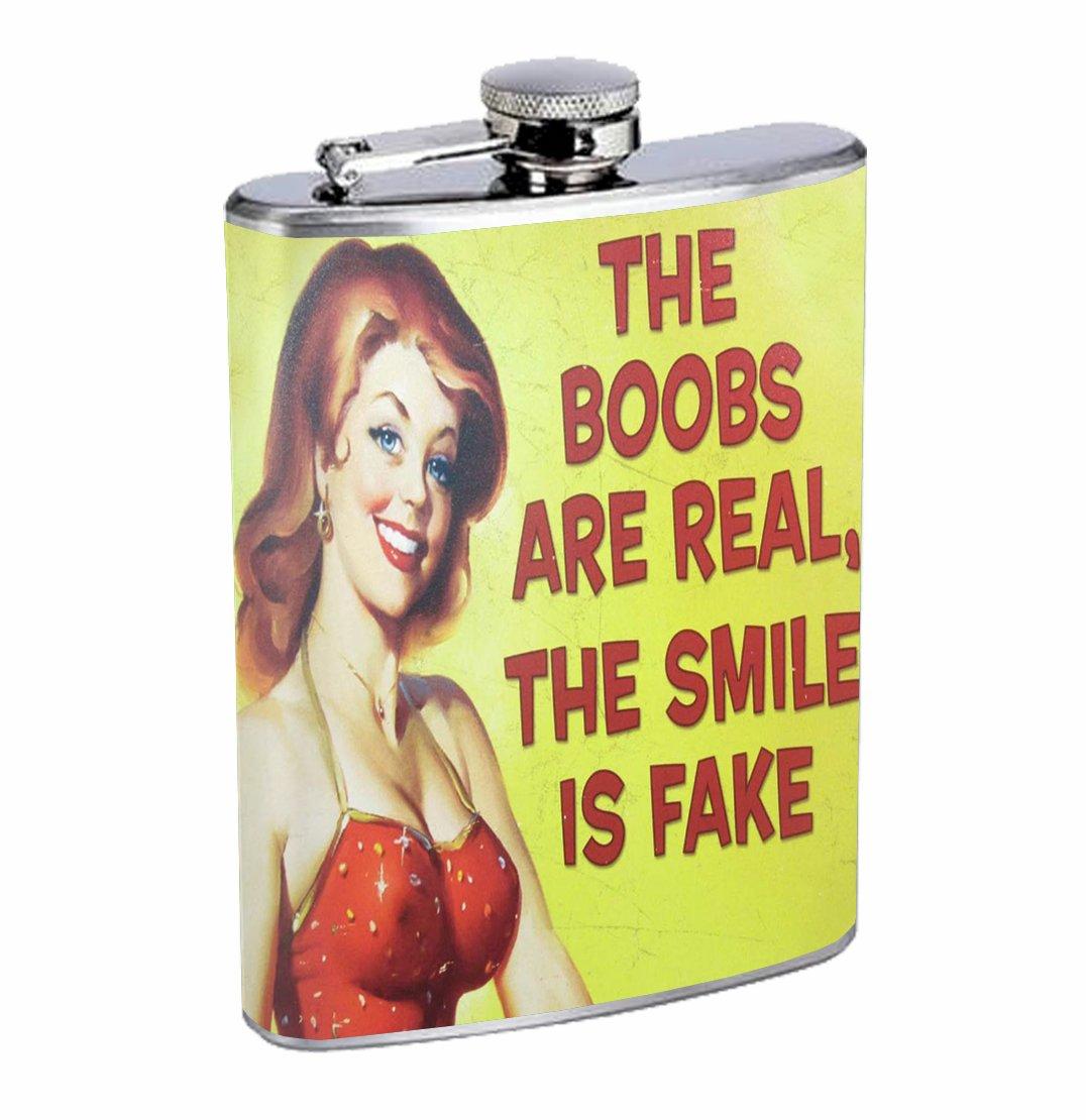 最も信頼できる Real乳房、FAKE Whiskey Smile面白いセクシーな8オンスステンレス鋼フラスコDrinking Whiskey B01DVEJNQS B01DVEJNQS, お気に入り:4c637d4c --- kiddyfox.in