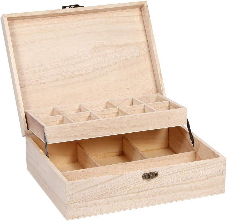 Alsino Bo/îte avec Couvercle Coffret en Bois Brut de qualit/é sup/érieure /à th/é Tea Box Caisse Valisette