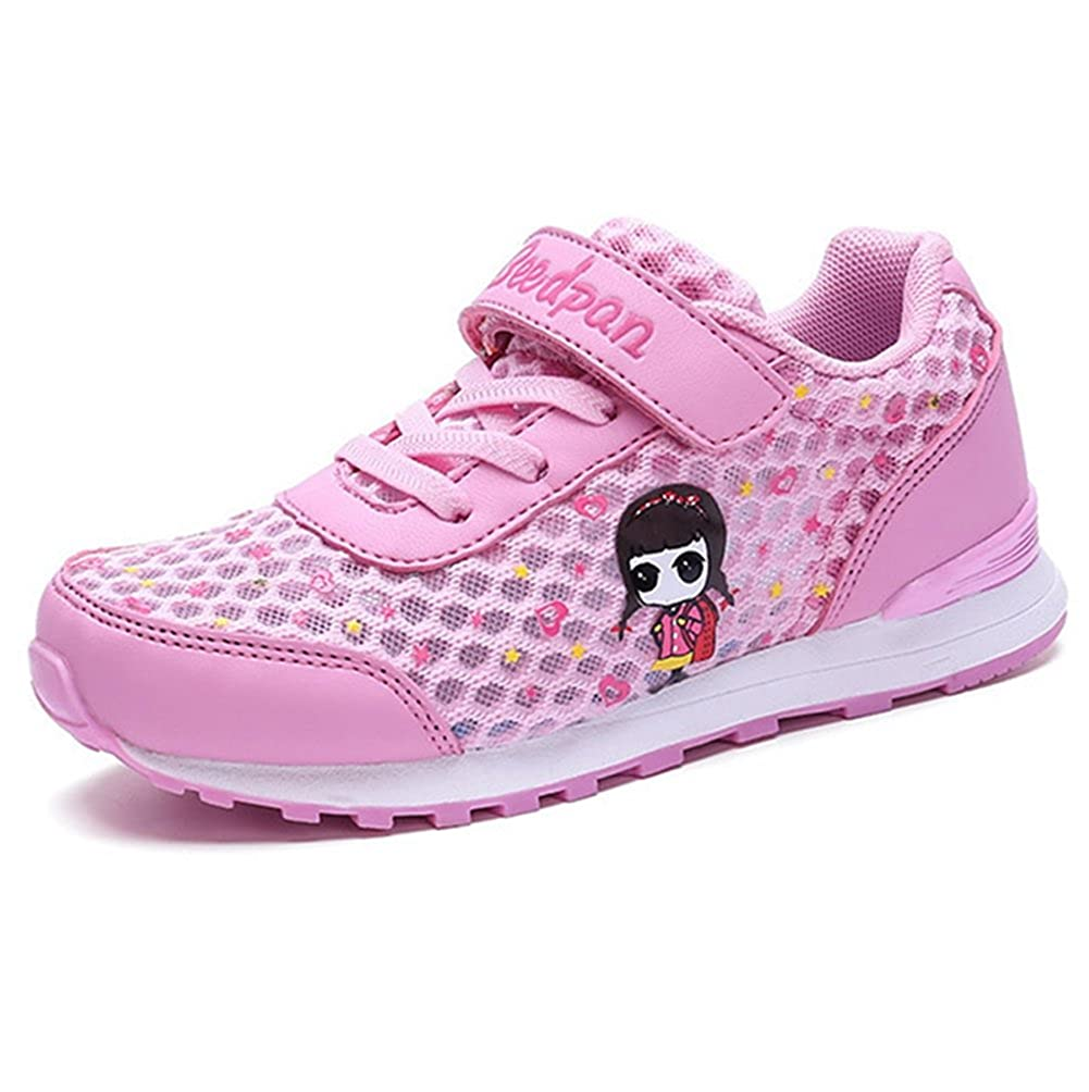 LGXH Breathable Little Girls Running Sport Shoe Hollow Mesh Light up Slip On Tennis Sneakers Shoes