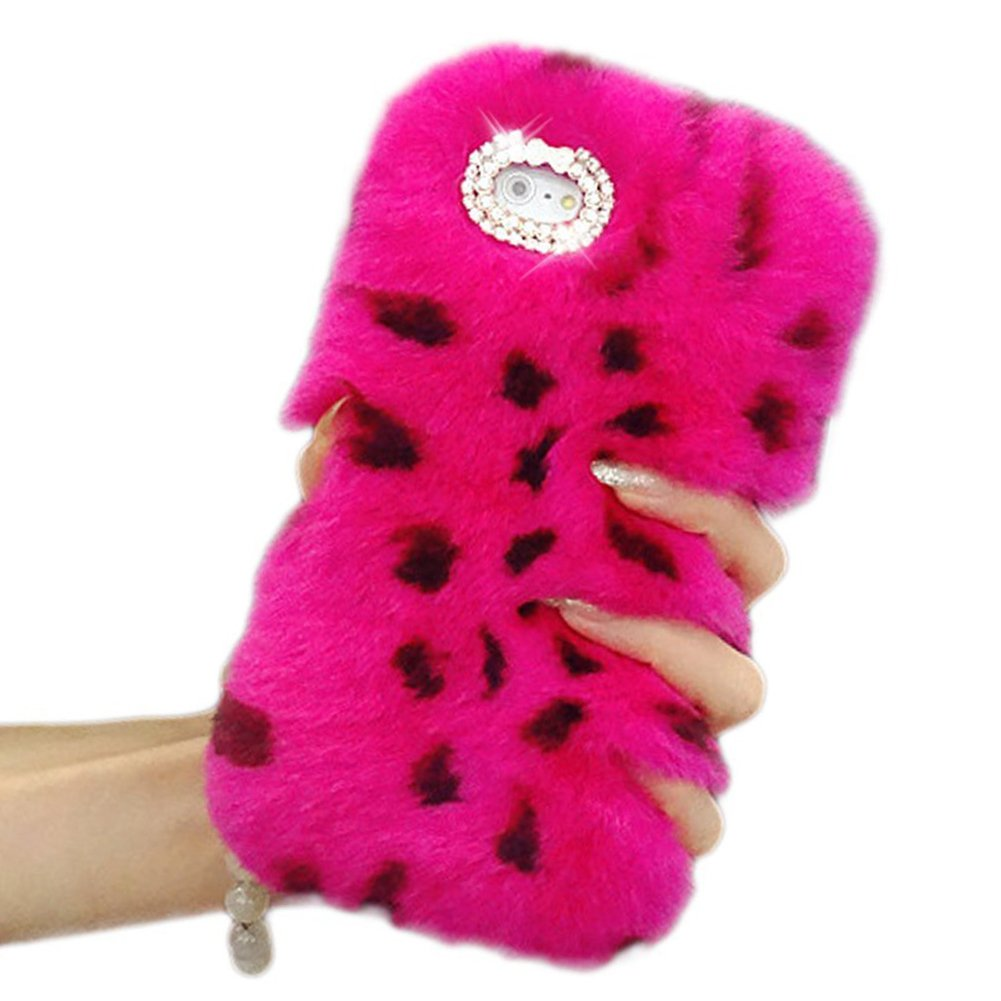 Case for iPhone 7/iPhone 8 4.7 , Rex Rabbit Fur Case, Sunroyal Slim Fit Handmade Fluffy Winter Soft Warm Hair Plush Cover Pattern with Diamond Bling Crystal Rhinestone Bow-Leopard Rose Red SC-IP7/8-FurCase-LeopardR