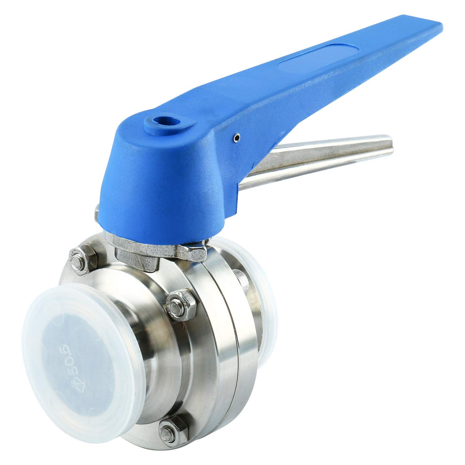 Homend 1.5'' Sanitary Tri Clamp Butterfly Valve with Trigger Handle and Silicone Seal, Stainless Steel 304 (1.5'' OD:38.1MM; Ferrule Size : 50.5MM)