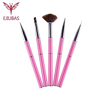 Amazon Ejiubas 5 Pcs Nail Art Brushes Set Fan Brush Liner