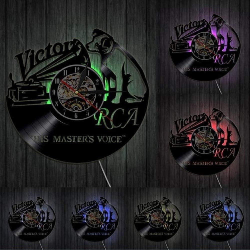 1Piece Victor RCA Vinyl Record Clock Cute Dog Design Handmade Gift Home Decor Vintage Creative Hanging Wall Art Timepiece Clock