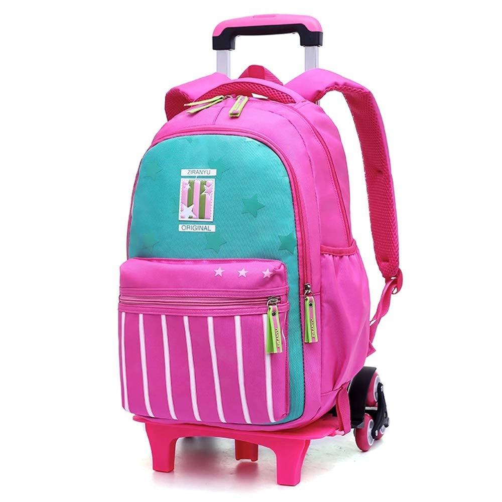 JL-Q Trolley Schoolbag Escuela Primaria niñas Seis Rondas 4-6 Grado niños de Las Mochilas Ridge Alivio Rodillo Bolsas Desmontable de Doble propósito Mochila,Pink