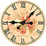 Toright Warm Sweet Style for Room Flower Shop Wall Décor Clock Happy Everyday 16inch