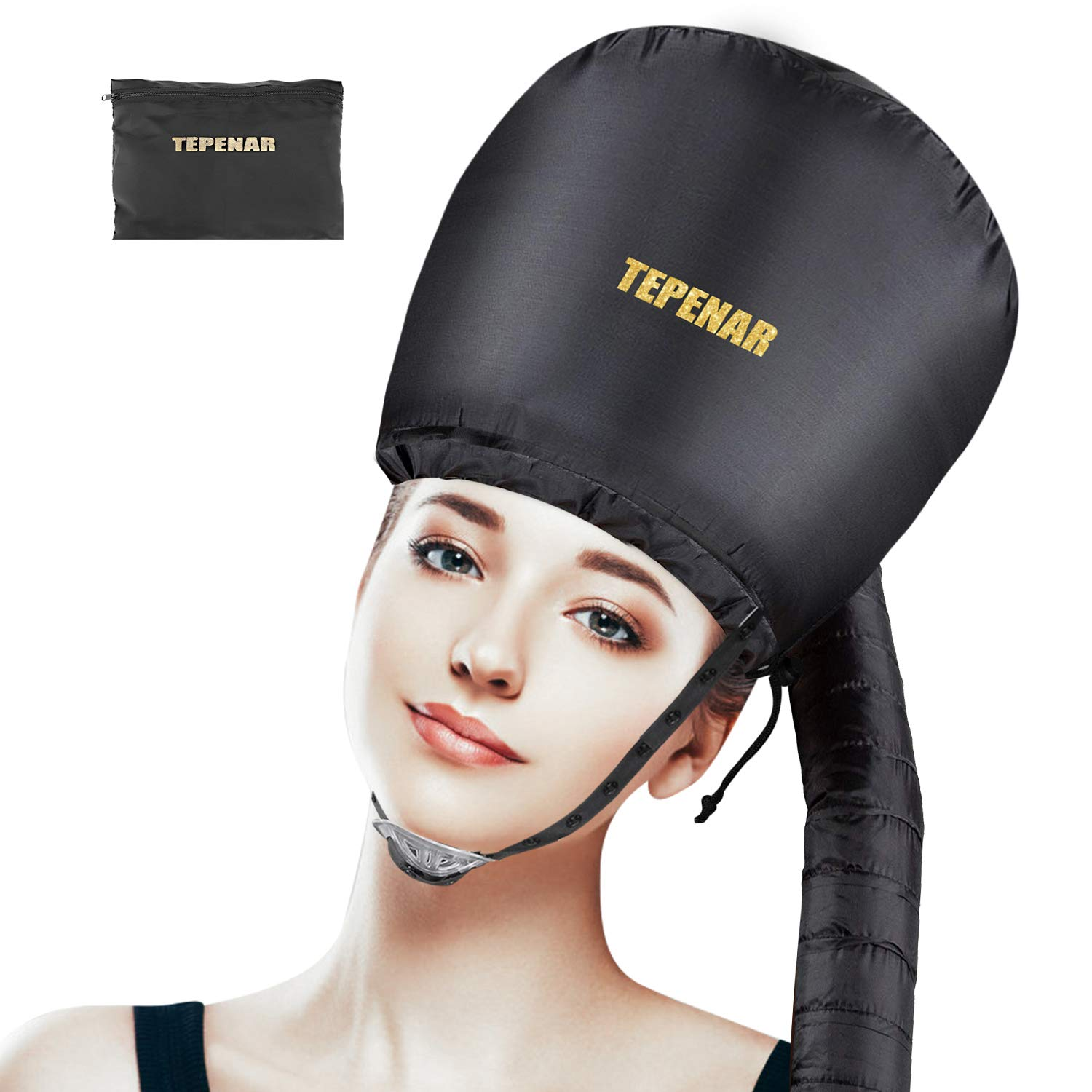 Bonnet Hood Hair Dryer Attachment by TEPENAR - Adjustable Extra Large Soft Bonnet with Chin Strap Use For Deep Conditioning Hair Styling and Drying