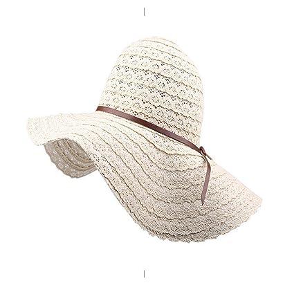 Yisaesa Sombrero de Paja Sombrero de ala Grande Sombrero para el Sol Mujer  Playa de Verano 0e8f9797bfd