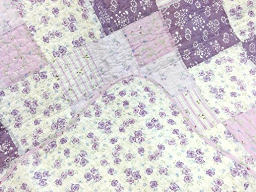 Cozy Line Home Fashions Love of Lilac Bedding Quilt Set, Light Purple Orchid Lavender Chic Lace Floral 100% Cotton Reversible Coverlet, Bedspread, Gifts for Girls Women (Lilac, King - 3 piece) by Cozy Line Home Fashions (Image #2)