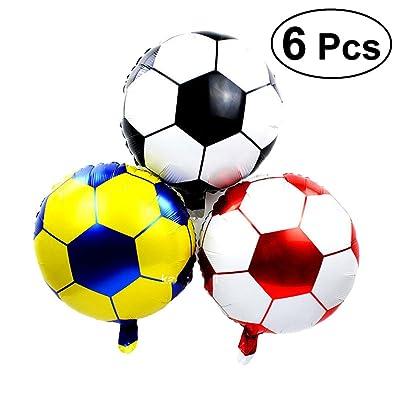 Yeahibaby 6 unids 18 Pulgadas Globos de Fútbol Globos de Papel de Aluminio Mylar Globos Suministros de Partido para Cumpleaños World Game Sports Party: Juguetes y juegos