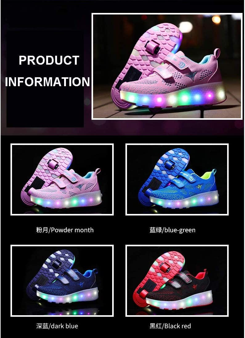 keyi Unisex Led Roller Skate Shoes With Double Wheels Retractable Breathable Usb Charge Skateboarding Shoe High Top Inline Wheel Skates Flashing Outdoor Running Gymnastics SneakersDark blue-1 UK