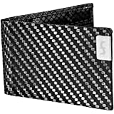 Common Fibers Mens Slim Real Carbon Fiber Bifold Wallet with RFID Credit Card Protection