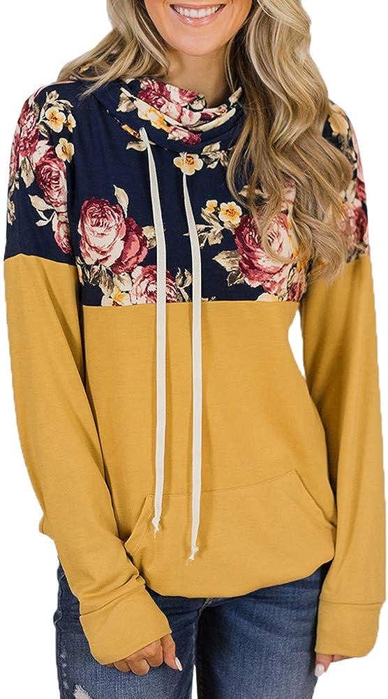 Usstore Women Girls Turtleneck Hoodie Sweatshirt Fall Winter Casual Floral Splice Drawstring Daily Pullover Shirts