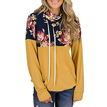 Mujer Comfort Commuter Manga Larga, Mujer LILICAT, Suéter Con Paneles De Impresión Informal, Sudaderas Camisetas Tops Jersey(S-2XL) (Amarillo, ...
