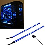 Ubanner PC LED Flexible Light Strip Blue Computer Lighting with Magnetic for Computer Case Lights Kit(30cm,18leds,S Series)