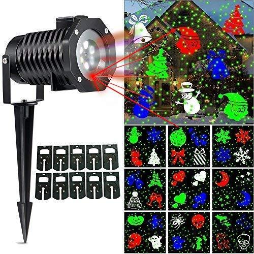 Ucharge Christmas Laser Light, [Newest Version] Snowflake Led Landscape Spotlight 10 Slides Sparkling Laser Light Show Rotating Outdoor Projection Lights for Holiday, Christmas Decoration, Multi -