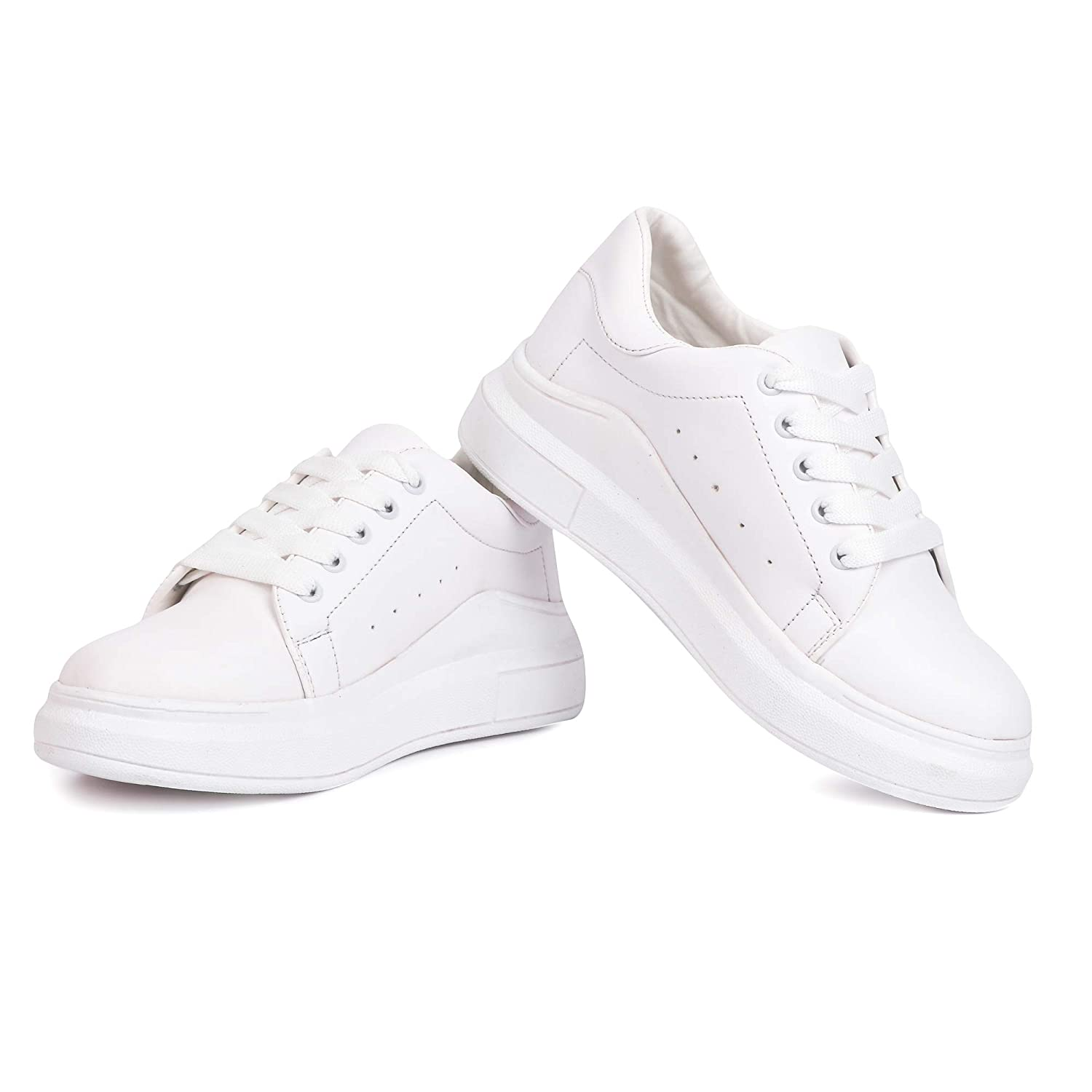 High Heel White Casual Shoes Sneakers