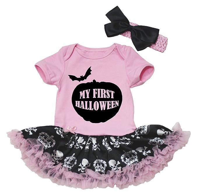 Petitebelle mi Primer Halloween Rosa Body de tutú de Corona de Calaveras Negro bebé nb-
