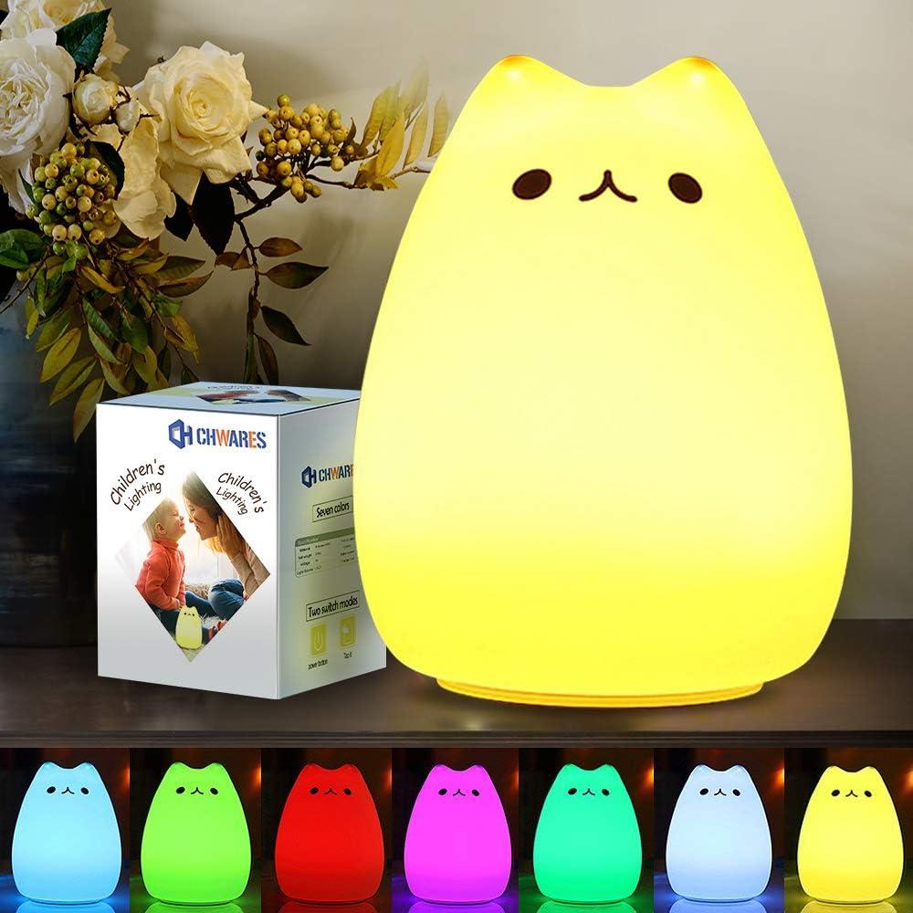 Veilleuse Enfants Multicolor Chat en Silicone USB Rechargeable