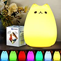 CHWARES Portable LED Children Night Light Kids Multicolor Silicone Cat Lamp, Warm White &7-Color Breathing Dual Light…
