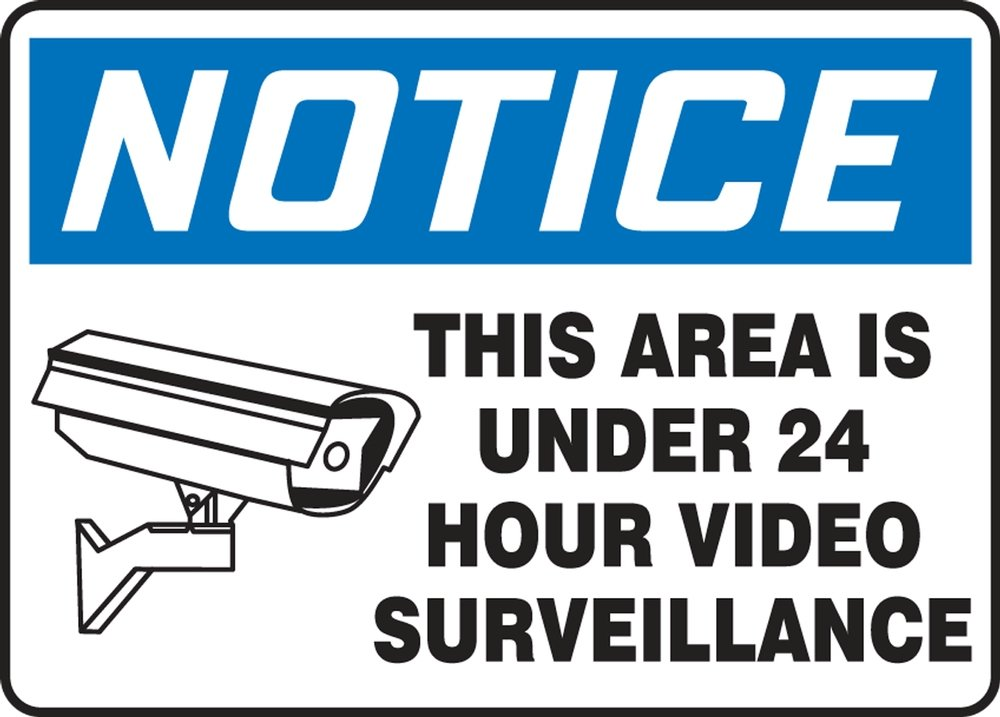 AccuformNotice This Area is Under 24 Hour Video Surveillance Safety Sign Aluma-Lite MASE807XL 10 x 14 Inches