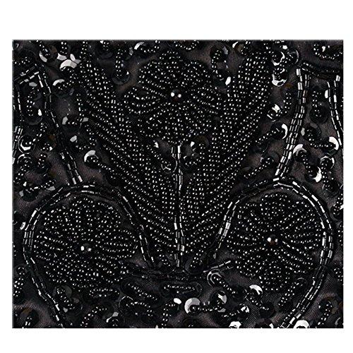 embrayage argent Crossbody en Noir Sac Sequin MMYOMI Nupti mariage Fête bal soirée Ladies en de en brodées de Vintage Fleur perles Handbag gRq8f