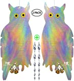 Owl Bird Repellent Control Scare Device - Holographic Reflective Woodpecker Deterrent With 12 inch Spiral Rods & 2 Bonus Suction Cups/2 Pack Combo