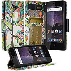 ZTE Majesty Pro Case, ZTE Tempo Case, Luxury PU Wrist Strap Leather Wallet Flip Protective Case Cover with Card Slots and Stand for ZTE Majesty Pro Z799VL / ZTE Tempo N9131 - (Colorful Tree)