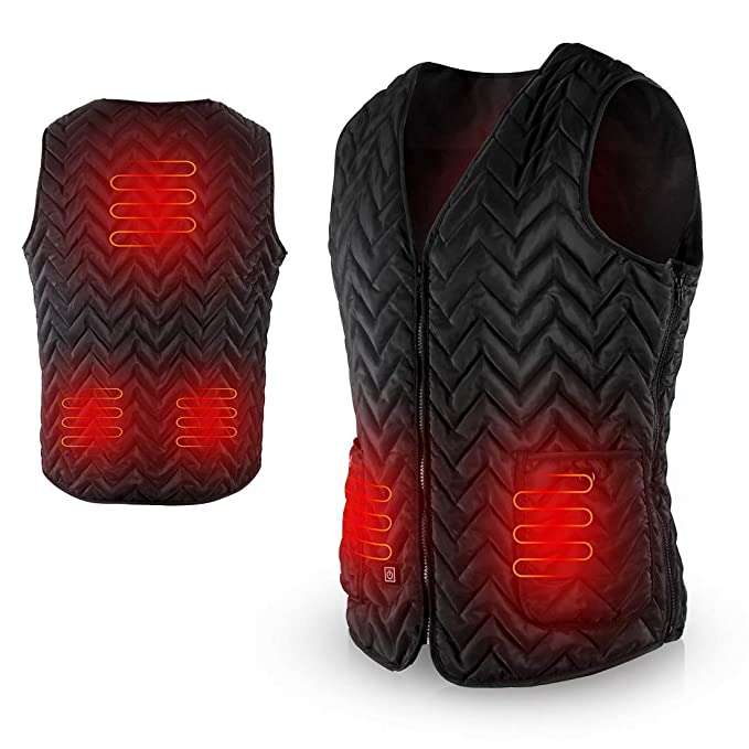 AGPTEK Heated Vest USB Charging, Light Weight Insulated Waistcoat, Washable Size Adjustable for Outdoor Hiking, Hunting, Camping (Battery Not Included) Size: XL best heated vests for men