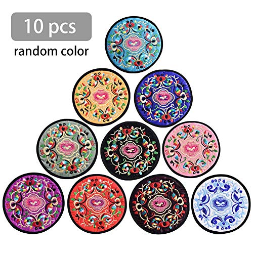 Embroidered Teacup - Dailyfun Round Embroidered Cloth Coasters Vintage Ethnic Floral Design Teacup Mat For Drinks 10Pcs skilful