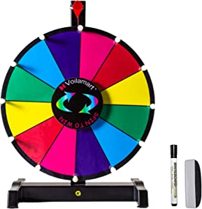 "Voilamart 12"" Tabletop Spinning Prize Wheel 12 Slots with Durable Plastic Base, Dry Erase, 2 Pointer, for Fortune Spin Game in Party Pub Trade Show Carnival"