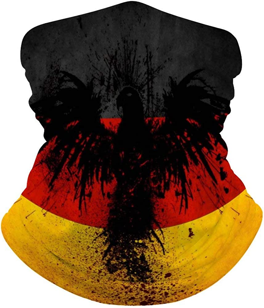 German Flag Black Eagle Multifunctional Face Scarf,Face Mask, Neck Gaiter,Neck Cap,Seamless Neck Cover,Outdoors, Breathable Face Cover Bandana for Dust,Unisex Headwear