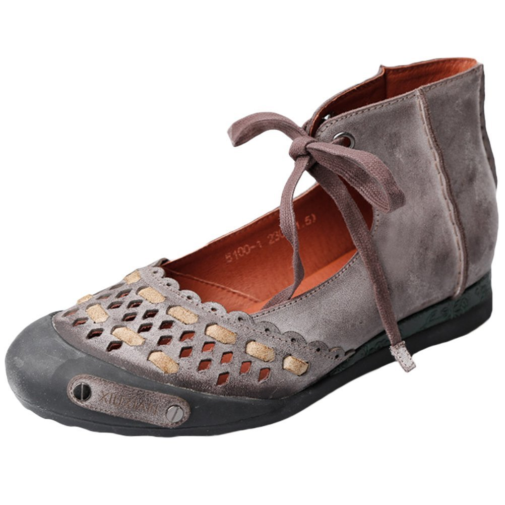 Mordenmiss Women's Summer Lace up Handmade Genuine Leather Sandal Coffee 40