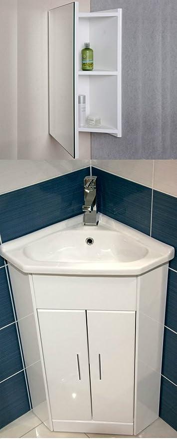 Compact White Corner Vanity Unit Bathroom Furniture Sink Cabinet Ceramic 570 X 400 Mirror Cabinet Amazon De Küche Haushalt