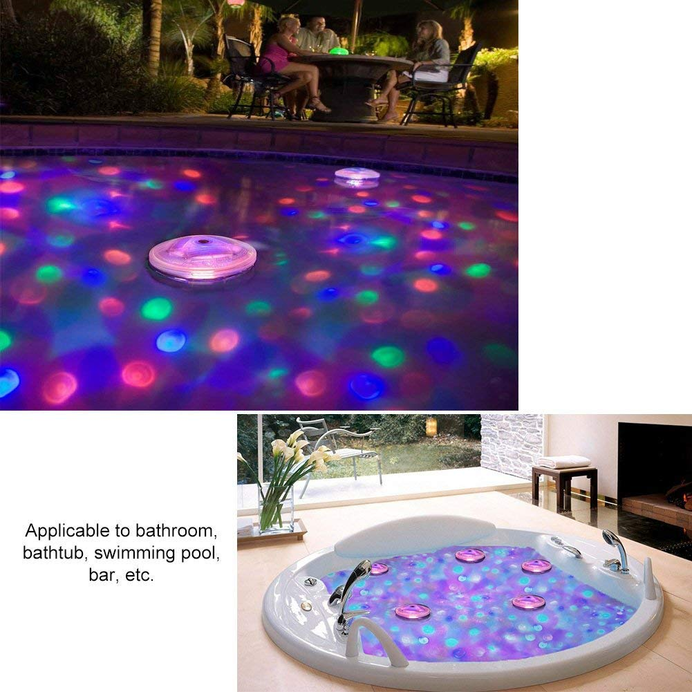 Waterproof IP68,Battery Powered,5 Flash Modes LEDGLE LED Colour Changing Light for Bathtub or Spa Bathtub Lights