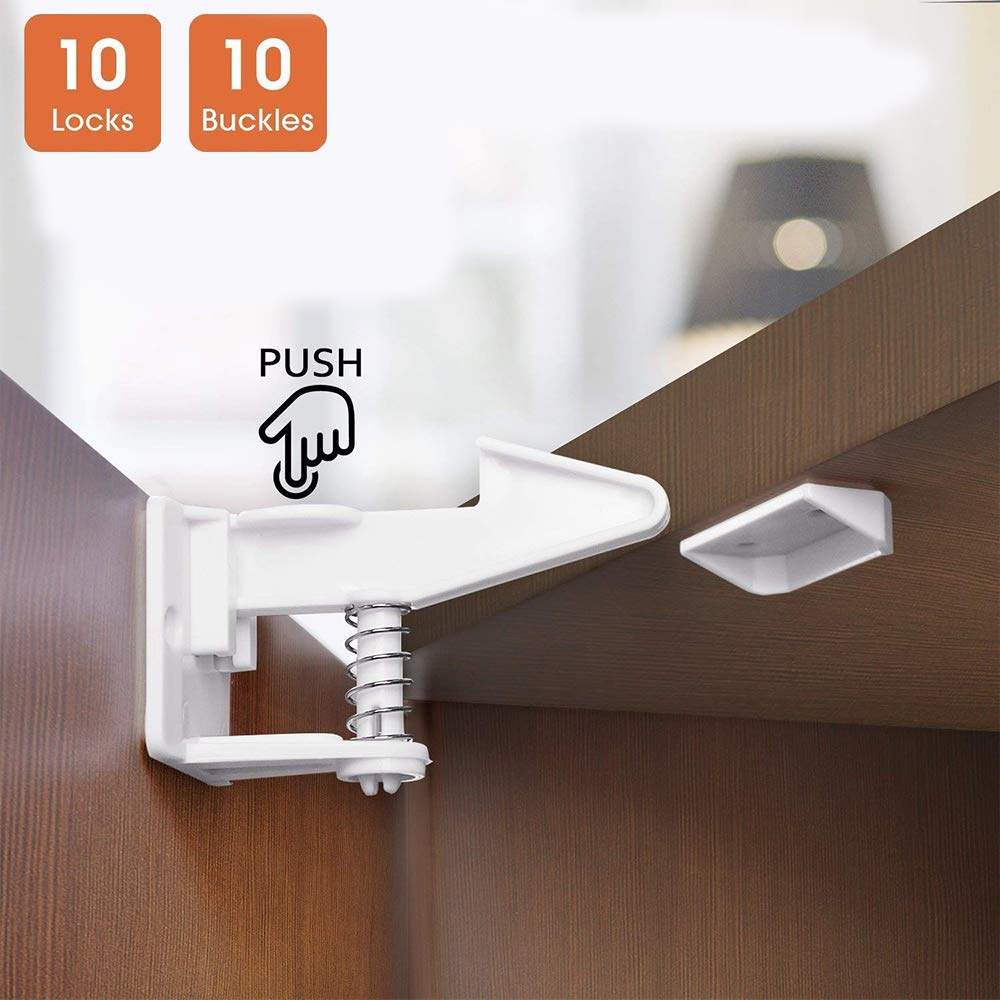LeafBoat Cabinet Locks Child Safety Locks - 10 Pack Baby Proofing Cabinets Drawer Lock with Adhesive Easy Installation - No Drilling or Extra Tool Fixed (10 Pack)
