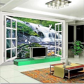 Chlwx D Tapete Cmxcm In D Tapeten Fototapete Wohnzimmer Fenster Wandbild Wasserfall Hirsch Malerei Sofa Tv Hintergrund Wall Sticker