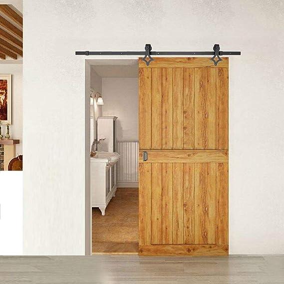homgrace 6 ft – Herraje para puerta deslizante Sistema corredera – Riel para puerta de hardware Kit de divisores para puertas correderas puertas interiores y armarios de pared, tipo de flores: Amazon.es: