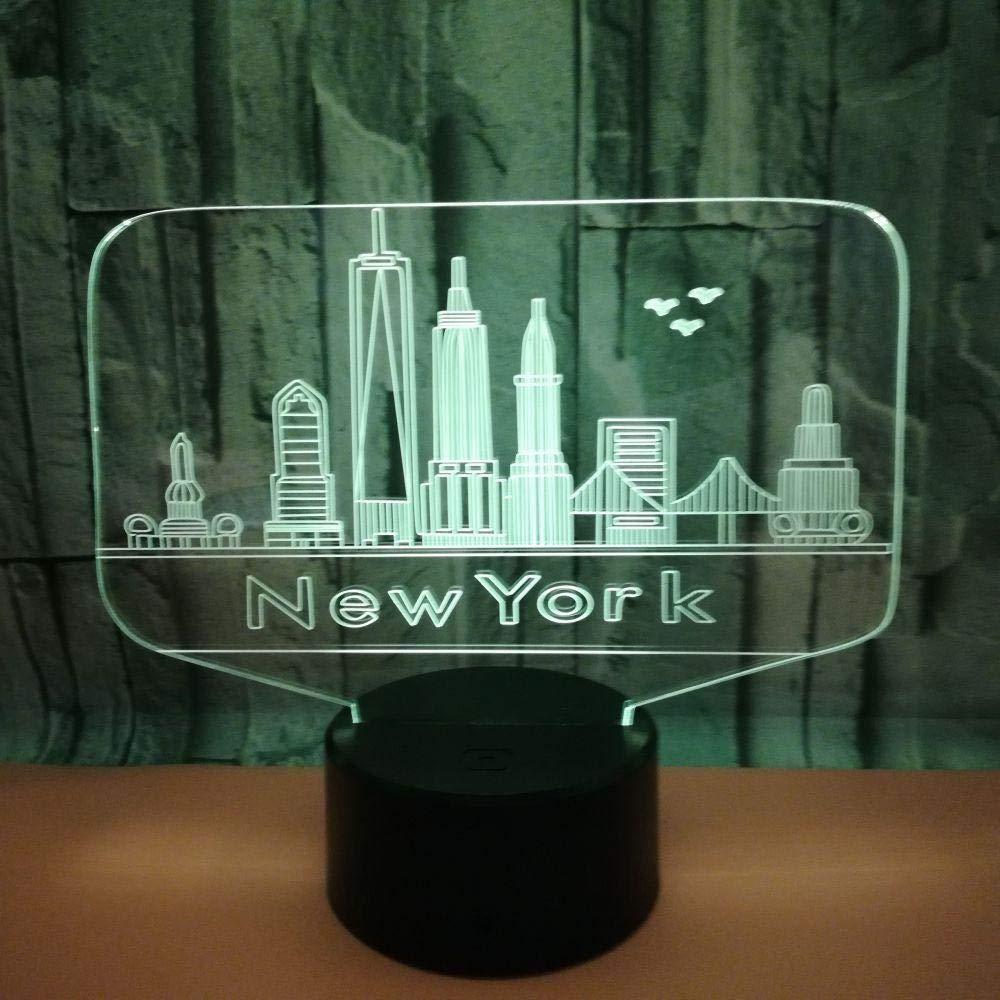 Edificios De Nueva York Lámpara De Ilusión 3D Luz De Noche 7 ...