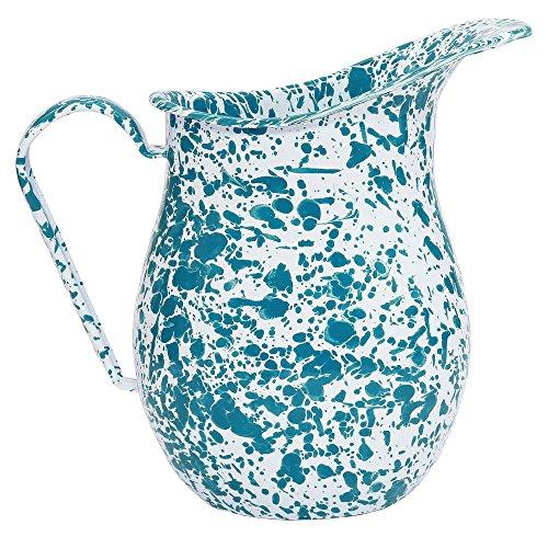 Enamelware Large 2 Quart Pitcher - Turquoise (Marble Enamelware)