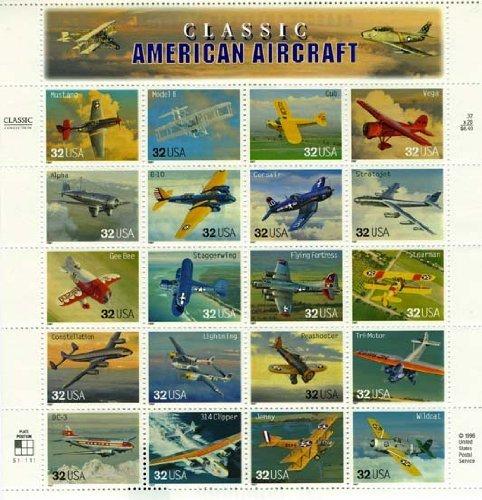 USPS 1997 Classic American Aircraft - Sheet of Twenty Stamps Scott 3142