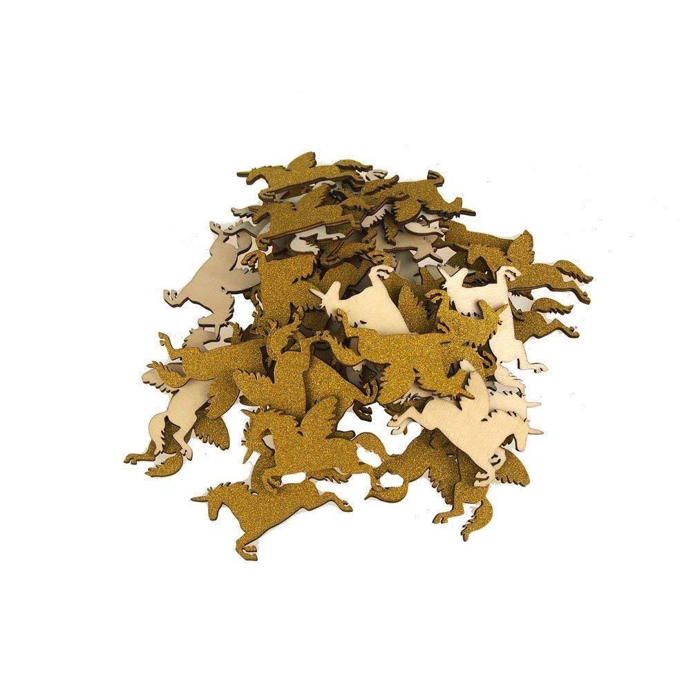 Homeford FCF00000WPG3GOLD_50X Glitter Wood Favors 2-1/4' Gold