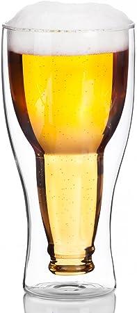 Dimono® - Jarra de cerveza con doble pared, de cristal, Einzel: Amazon.es: Hogar