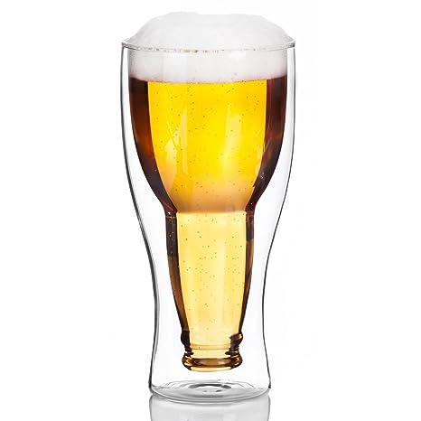 Bicchiere Da Birra In Vetro A Doppia Parete Disegno Interno Con
